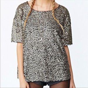 Silence + Noise Gold Sequin Short-Sleeve Top